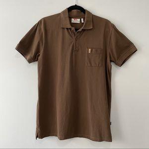 Fjallraven Ovik Pique Polo Shirt Brown Sz M